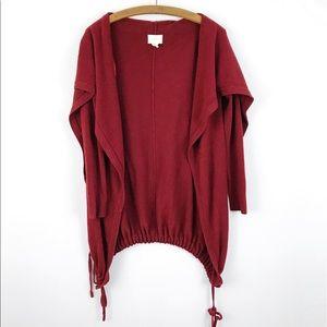 Shae Maroon Open Front Drawstring Sweater Cardigan